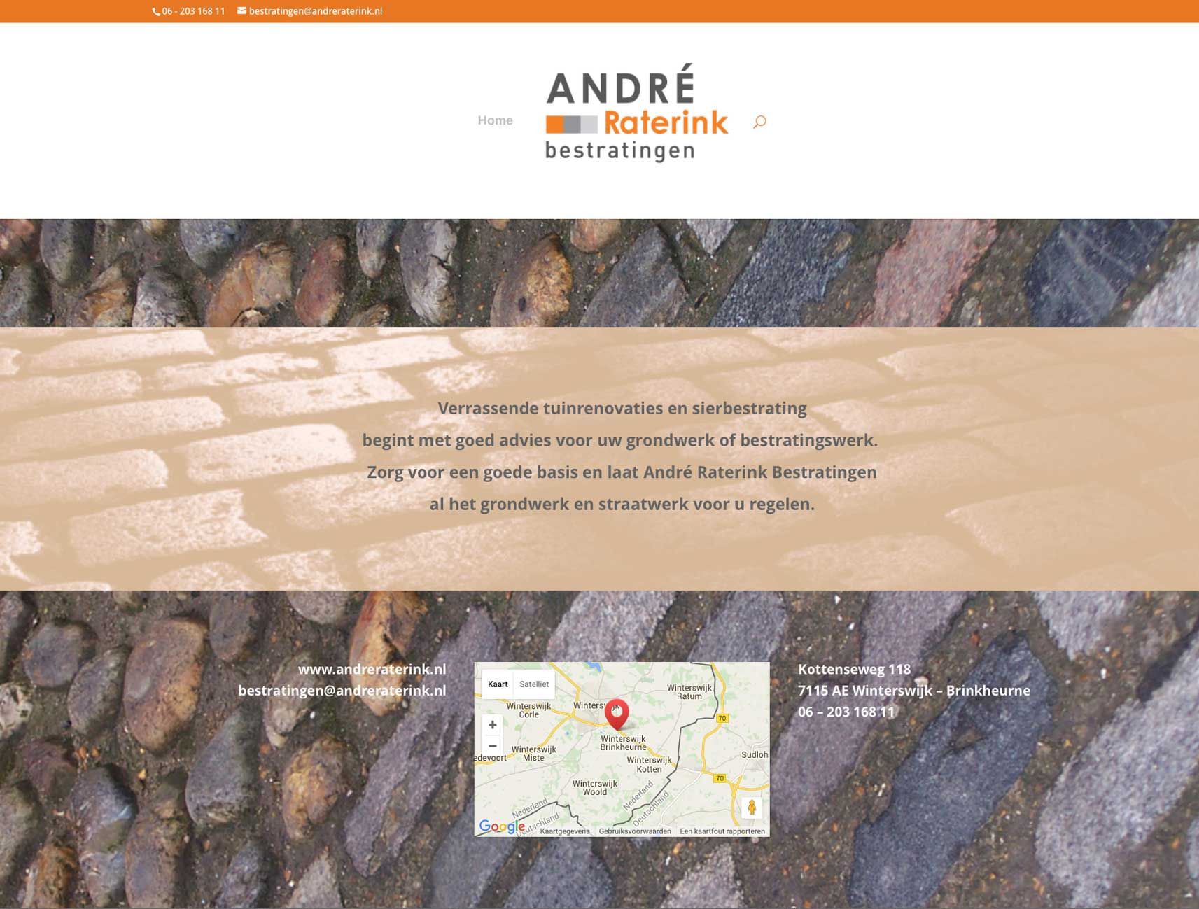 Andre Raterink Bestratingen webdesign