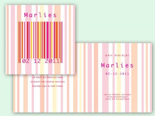 Geboortekaart barcode meisje