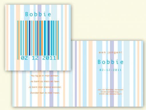 Geboortekaart barcode jongen