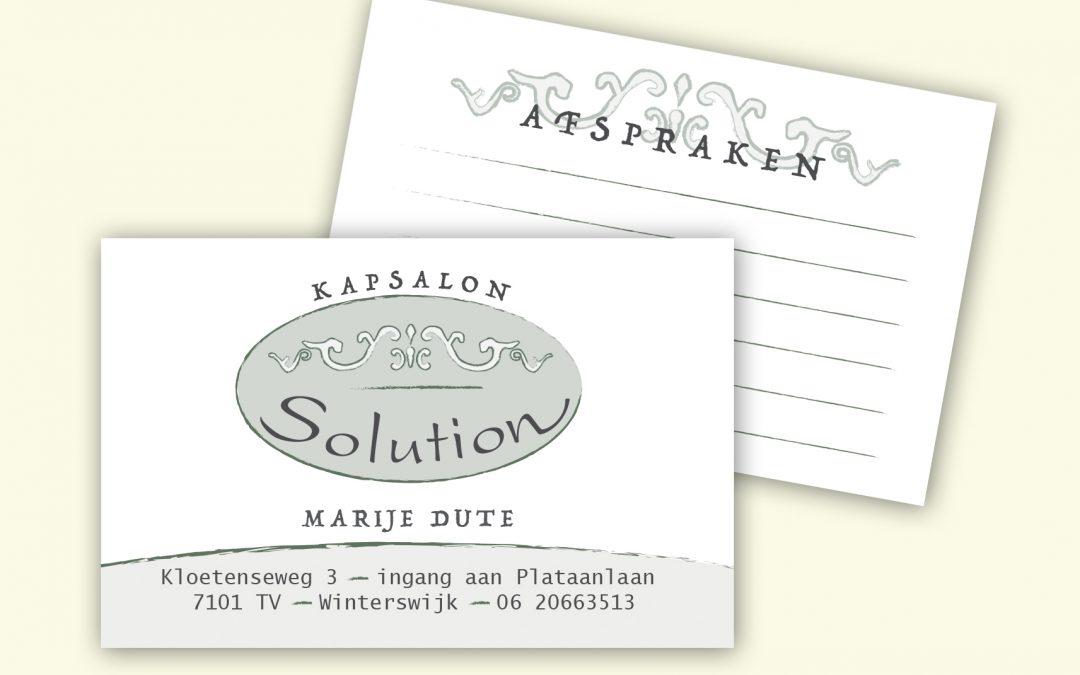Kapsalon Solution Visite-afsprakenkaart