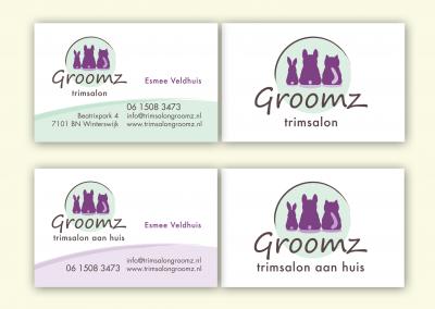 Trimsalon Groomz logo en visitekaart ontwerp