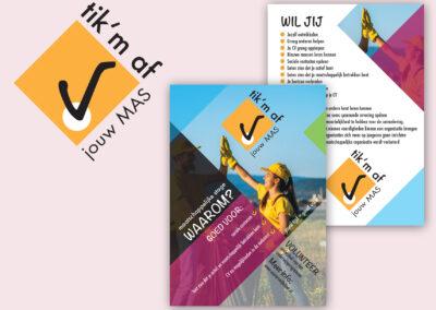 Tik 'm af logo, poster en flyer Maatschappelijke stage Winterswijk